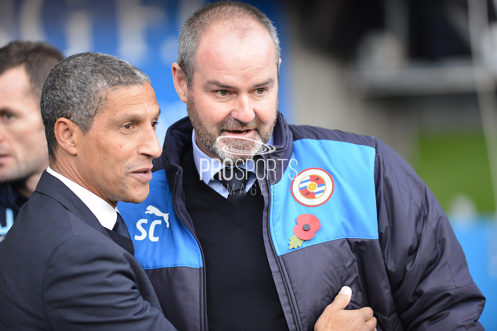 Reading's Manager Steve Clarke greets Brighton and Hove Albion manager Chris Hughton during the Sky Bet Championship match between Reading and Brighton and Hove Albion at the Madejski Stadium, Reading, England on 31 October 2015. Photo by Mark Davies.