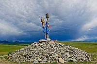 Mongolie, province de Bayankhongor, ovoo, monument bouddhiste // Mongolia, Bayankhongor province, ovoo, buddhist monument