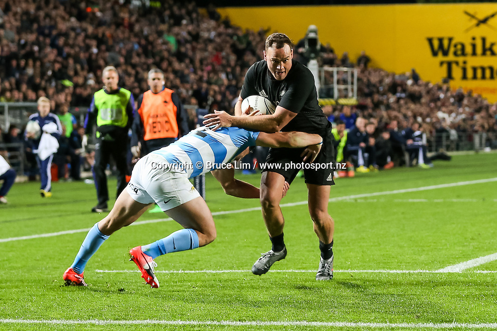 All Blacks winger Israel Dagg in action during Round 3 of the Rugby Championship - New Zealand All Blacks v Argentina Pumas.  FMG Stadium Waikato, Hamilton, New Zealand. Saturday 10 September 2016. © Copyright Photo: Bruce Lim / www.Photosport.nz