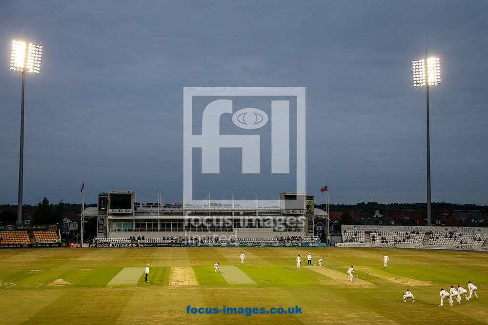 Play under the floodlights during the Specsavers County C'ship Div Two match at the County Ground, Northampton<br /> Picture by Andy Kearns/Focus Images Ltd 0781 864 4264<br /> 26/06/2017
