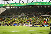 Norwich City fans in a celebratory mood before the EFL Sky Bet Championship match between Norwich City and Blackburn Rovers at Carrow Road, Norwich, England on 27 April 2019.