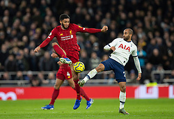 LONDON, ENGLAND - Saturday, January 11, 2020: Liverpool's Joe Gomez (L) and Tottenham Hotspur's Lucas Moura during the FA Premier League match between Tottenham Hotspur FC and Liverpool FC at the Tottenham Hotspur Stadium. (Pic by David Rawcliffe/Propaganda)