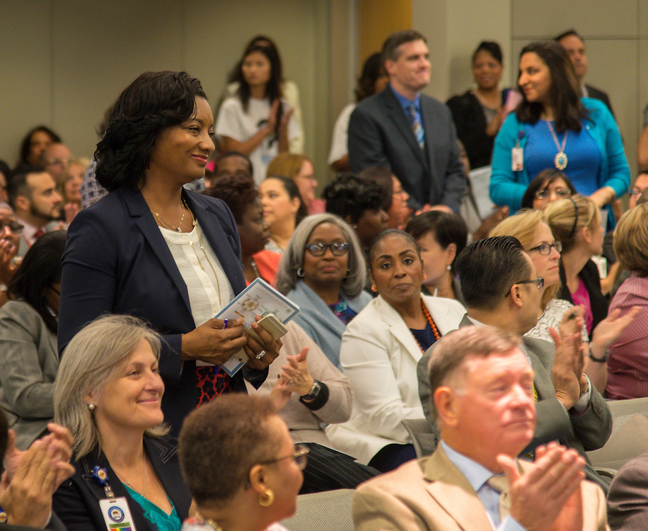 Principals of schools that earning maximum distinction designations from the TEA are recognized during the first principal Professional Leadership Series, September 2, 2015.
