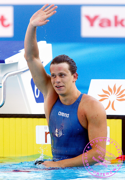 ROME 01/08/2009.13th Fina World Championships.Brazil's Cesar Cielo Filho celebrates after winning the gold medal in the Men's 50m Freestyle, at the FINA Swimming World Championships.photo: Piotr Hawalej / WROFOTO
