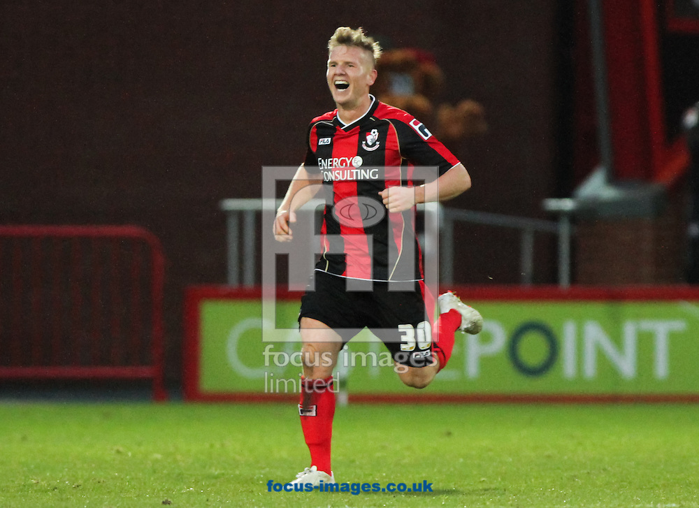 Picture by Tom Smith/Focus Images Ltd 07545141164<br /> 26/12/2013<br /> Matt Ritchie of Bournemouth celebrates scoring his sides second goal during the Sky Bet Championship match at the Goldsands Stadium, Bournemouth.