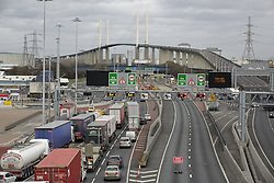 © Licensed to London News Pictures. 23/02/2017. London, UK. Traffic queues northbound for the Dartford Crossing tunnel as storm Doris closes The Queen Elizabeth II Bridge. Photo credit: Peter Macdiarmid/LNP