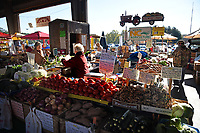 Fresh produce available at the North Carolina State Farmers' Market on a fall day.