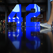 The iconic Jackie Robinson number forty-two in the Jackie Robinson Rotunda at Citi Field during the New York Mets V Arizona Diamondbacks Major League Baseball game  at Citi Field, Queens, New York. USA. 3rd July 2013. Photo Tim Clayton