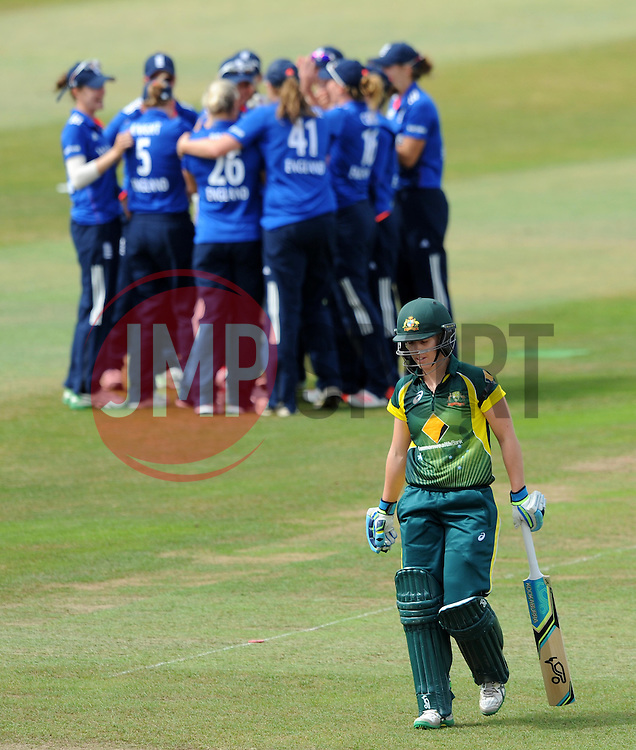 England's Charlotte Edwards celebrates taking a catch off the bowling of England's Katherine Burnt to dismiss Australia's Elyse Villani- Photo mandatory by-line: Harry Trump/JMP - Mobile: 07966 386802 - 21/07/15 - SPORT - CRICKET - Women's Ashes - Royal London ODI - England Women v Australia Women - The County Ground, Taunton, England.