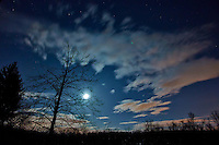 New Jersey Early Spring Night Sky with Moon and Clouds. Image taken with a Nikon 1 V2 and 6.7-13 mm  lens (ISO 160, 6.7 mm, f/3.5, 20 sec).