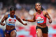 Kristal AWUAH of Great Britain and Jonielle SMITH of Jamaica in Heat 2 of the Women's 100m during the 2018 Müller Anniversary Games at the London Stadium, London, England on 21 July 2018. Picture by Toyin Oshodi.