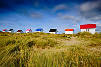 France, Manche (50), Gouville-sur-Mer, les cabanes de plage de Gouville // France, Normandy, Manche department, Gouville-sur-Mer, the beach huts of Gouville