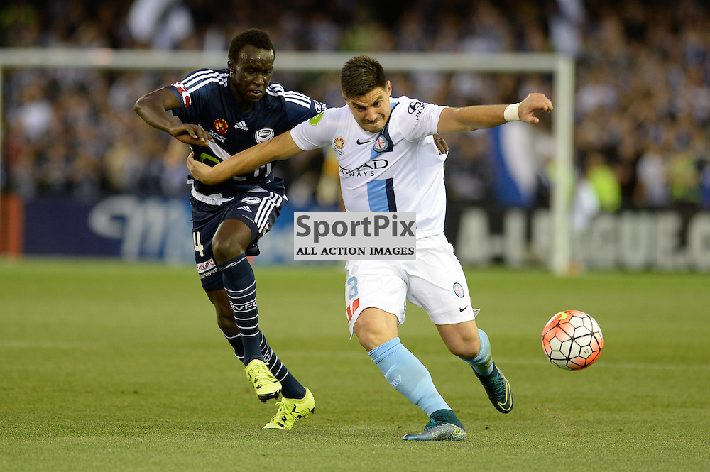 "Bruno Fornaroli of Melbourne City, Thomas Deng of Melbourne Victory - Hyundai A-League - October 17th 2015 - ROUND 2- Melbourne Victory FC v Melbourne City FC in the first derby for the 2015 season with a 3:2 win to Victory on the 90"" - © Mark Avellino 