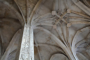 Sculpted pillar supporting rib vaults in the nave of the Collegiate Church of Saint-Gervais-Saint-Protais, built 12th to 16th centuries in Gothic and Renaissance styles, in Gisors, Eure, Haute-Normandie, France. The church was consecrated in 1119 by Calixtus II but the nave was rebuilt from 1160 after a fire. The church is 70m long and the nave is 24m high with a rib-vaulted ceiling. The church was listed as a historic monument in 1840. Picture by Manuel Cohen