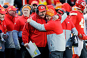 Kansas City Chiefs head coach receives congratulations at the end of a NFL, AFC Championship football game against the Tennessee Titans, Sunday, Jan. 19, 2020, in Kansas City, MO. The Chiefs won 35-24 to advance to Super Bowl 54. Photo/Colin E. Braley Colin Eric Braley Photography