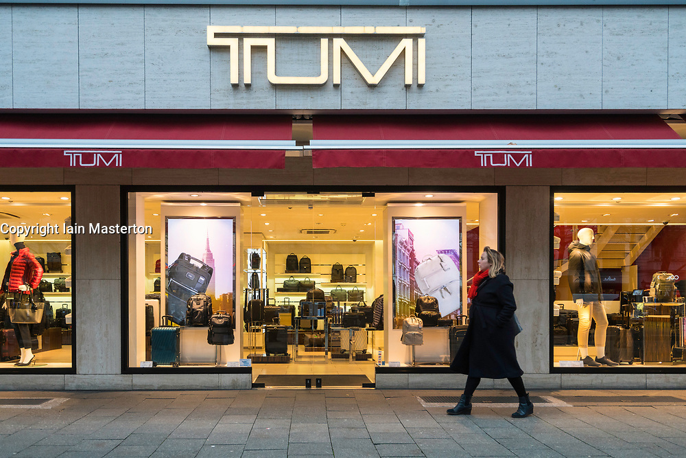 Tumi luggage store on famous Kurfurstendamm shopping street in Berlin, Germany.
