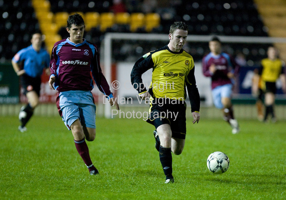 12/20/2007.Evening Echo..Pictured in action at the Kilkenny City V Cobh Ramblers match in Buckley Park Kilkenny was Cobh Ramblers Graham Cummins and Kilkenny City's Eoghan O'Shea..Picture Dylan Vaughan.