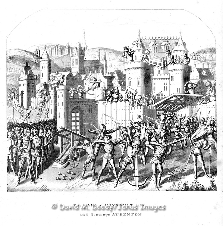 "woodcut ""The Earl of Haynault takes and destroys Aubenton."" From  ""Chronicles of England"" 1806 by Froissart"