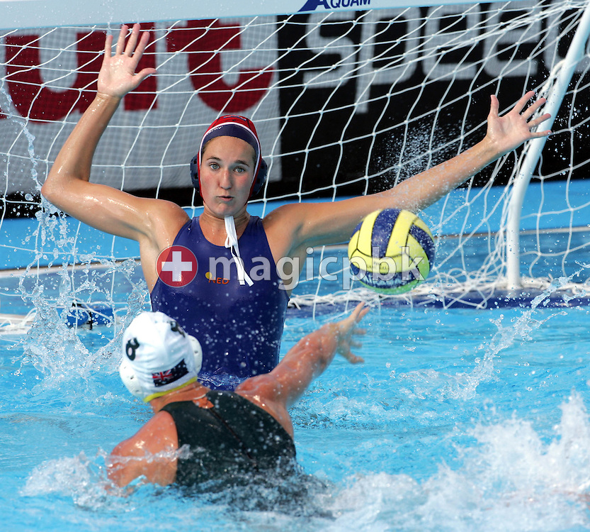 Australia's Kate Gynther scores on the Netherlands' goalkeeper Martine Aleida de Nooy during the preliminary round women's water polo at the FINA World Championships in Montreal, Quebec Thursday 21 July, 2005. Australia defeated the Netherlands 9-2. (Photo by Patrick B. Kraemer / MAGICPBK)