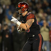 26 November 2016: The San Diego State Aztecs football team closes out the season at home against Colorado State.  San Diego State tightend David Wells (88) scores a touchdown on a 25 yard reception in the first quarter. The Aztecs trail the Rams 42-24 at halftime. www.sdsuaztecphotos.com