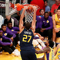 10 October 2017: Utah Jazz center Rudy Gobert (27) goes for the dunk during the Utah Jazz 105-99 victory over the LA Lakers, at the Staples Center, Los Angeles, California, USA.