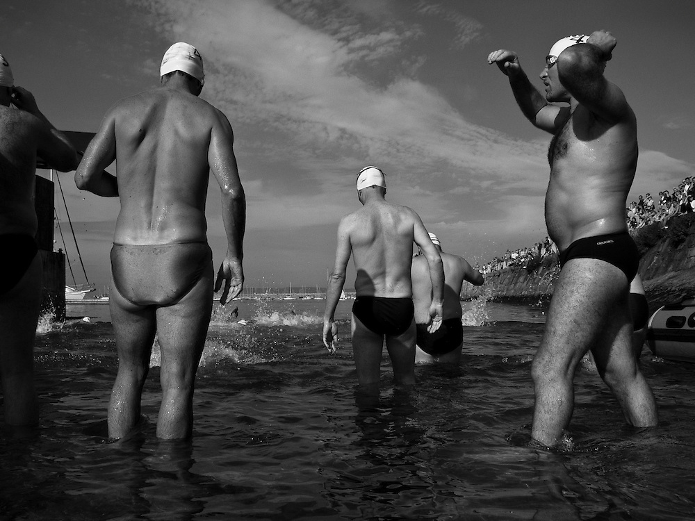 The start of the 2005 Dun Laoghaire Harbour Swim, Dun Laoghaire, Co. Dublin, Ireland, September 2005.
