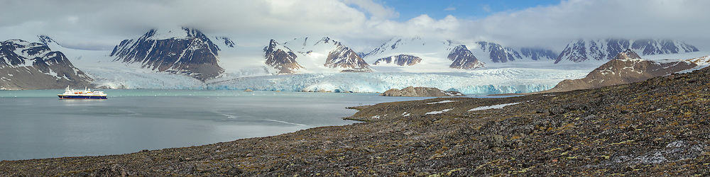 Panorama of Smeerenburgbreen tide water glaciers in Bjørnfjorden in Albert I Land at Spitsbergen, Svalbard.