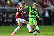 Forest Green Rovers George Williams(11) takes on Northampton Towns Jordan Turnbull(18) during the EFL Sky Bet League 2 match between Northampton Town and Forest Green Rovers at Sixfields Stadium, Northampton, England on 13 October 2018.