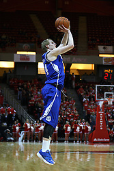 12 January 2013:  Ben Simons shoots the three during an NCAA Missouri Valley Conference mens basketball game Where the Bulldogs of Drake University beat the Illinois State Redbirds 82-77 in Redbird Arena, Normal IL