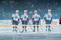 KELOWNA, CANADA - JANUARY 3: Lucas Johansen #7, Cole Linaker #26 and Rodney Southam #17 of Kelowna Rockets share a laugh as they line up against the Prince George Cougars on January 3, 2015 at Prospera Place in Kelowna, British Columbia, Canada.  (Photo by Marissa Baecker/Shoot the Breeze)  *** Local Caption *** Lucas Johansen; Cole Linaker; Rodney Southam;