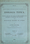 Title Page of Zoologia typica; or, Figures of new and rare animals and birds described in the proceedings, or exhibited in the collections of the Zoological Society of London. By Fraser, Louis. Zoological Society of London. Published London, March 1847
