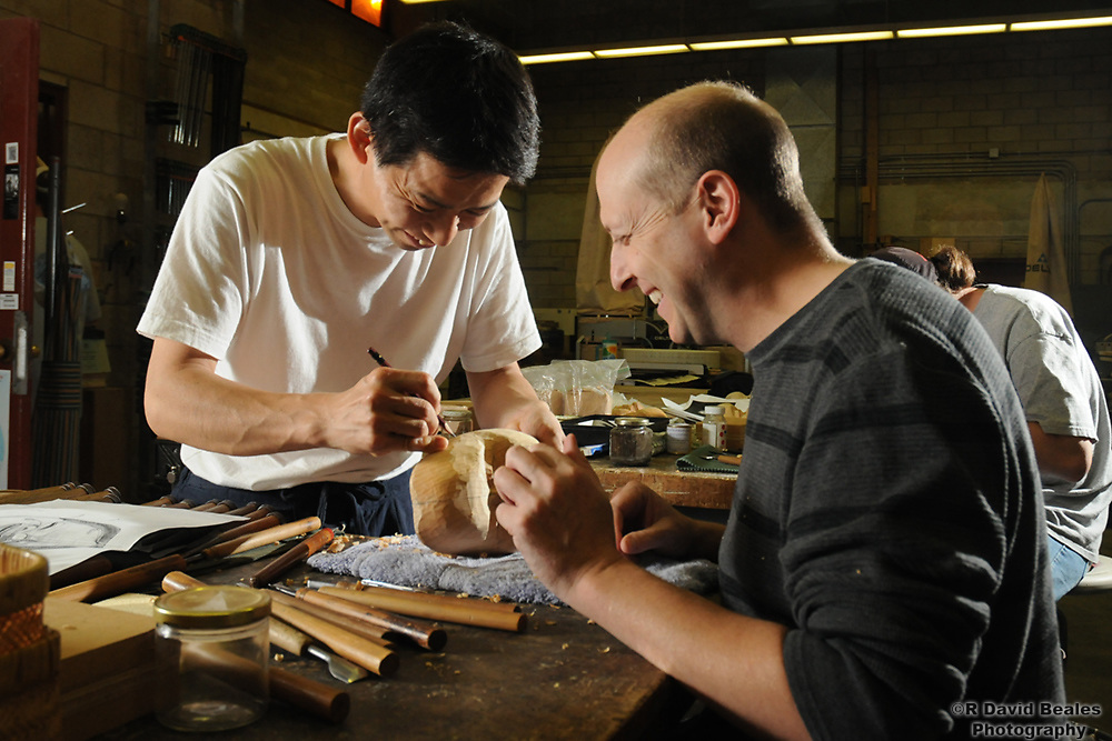 Master Carver Hideta Kitazawa visits the UH Manoa Art Department for a seminar on Noh mask carving.