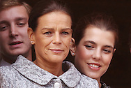 Monaco, Monaco - NOVEMBER 19: Princess Stephanie of Monaco and Charlotte Casiraghi attend the National Day Parade as part of Monaco National Day Celebrations on November 19, 2011 in Monaco.(Photo by Tony Barson/BARSONIMAGES)