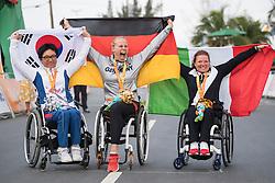 222 REPPE Christiane, H4, GER, 223 LEE Doyeon, KOR, 218 PORCELLATO Francesca, H3, ITA, Podium, Cycling, Road Race à Rio 2016 Paralympic Games, Brazil