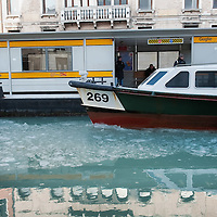 VENICE, ITALY - FEBRUARY 05:  A waterbus (vaporetto) stops at Guglie on a partially frozen Canal of Cannaregio  on February 5, 2012 in Venice, Italy. Italy as most of Europe is under a spell of very cold weather, it is more than 20 years aince the Venice Lagoon last froze.  (Photo by Marco Secchi/Getty Images)
