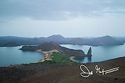View from the summit of Bartolome island, part of the Galapagos islands of Ecuador.
