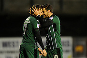 David Goodwillie (7) of Plymouth Argyle is congratulated by Graham Carey (10) of Plymouth Argyle after scoring his first goal for Plymouth Argyle to make the score 4-2 during the EFL Sky Bet League 2 match between Plymouth Argyle and Stevenage at Home Park, Plymouth, England on 14 January 2017. Photo by Graham Hunt.