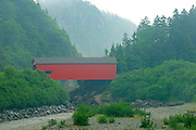 red covered bridge at Point Wolfe<br /> Fundy National Park<br /> New Brunswick<br /> Canada