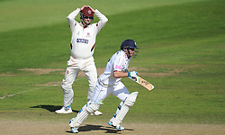 Somerset captain Marcus Trescothick reacts to a chance whilst Hampshire's Will Smith runs.  - Mandatory byline: Alex Davidson/JMP - 07966386802 - 12/09/2015 - CRICKET - The County Ground -Taunton,England - Somerset CCC v Hampshire CCC - Day 4