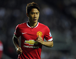 Manchester United's Shinji Kagawa leaves the pitch injured - Photo mandatory by-line: Joe Meredith/JMP - Mobile: 07966 386802 26/08/2014 - SPORT - FOOTBALL - Milton Keynes - Stadium MK - Milton Keynes Dons v Manchester United - Capital One Cup