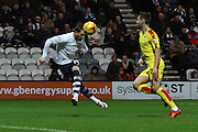 Preston North End Striker Joe Garner heads for goal during the Sky Bet Championship match between Preston North End and Rotherham United at Deepdale, Preston, England on 2 January 2016. Photo by Pete Burns.
