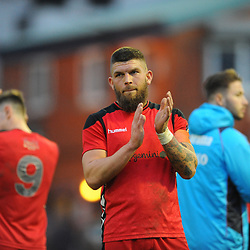TELFORD COPYRIGHT MIKE SHERIDAN 16/2/2019 - Shane Sutton of AFC Telford applauds the supporters after the Vanarama Conference North fixture between Stockport County and AFC Telford United at Edgeley Park