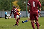Croydon Athletic midfielder Jack Higginsnmoves the ball forward during the Southern Counties East match between AFC Croydon Athletic and Hollands & Blair at the Mayfield Stadium, Croydon, United Kingdom on 10 October 2015. Photo by Mark Davies.
