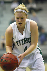 29 January 2011: Brittany Hasselbring during an NCAA Womens basketball game between the Carthage Reds and the Illinois Wesleyan Titans at Shirk Center in Bloomington Illinois.