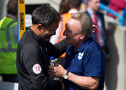 Huddersfield Town manager David Wagner (L) and Cardiff City manager Neil Warnock shake hands before the match - Mandatory by-line: Jack Phillips/JMP - 25/08/2018 - FOOTBALL - The John Smith's Stadium - Huddersfield, England - Huddersfield Town v Cardiff City - English Premier League