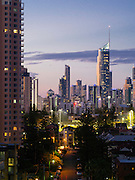 Evening skyline view of Broadbeach, QLD, Australia, near Brisbane and the Gold Coast.