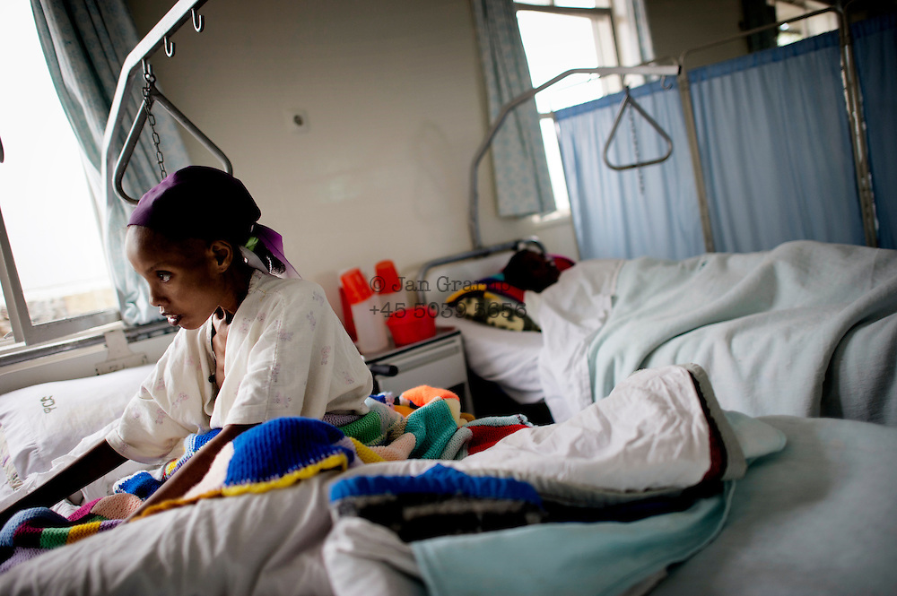 A patient recovering from her fistula operation in the Hamlin Fistula Hospital in Addis Abeba, Ethiopia. Two million women and girls worldwide suffer from this birth injury, Ethiopia has the highest number of fistula sufferers in the world (100 000). Each year, 9000 new cases are added.