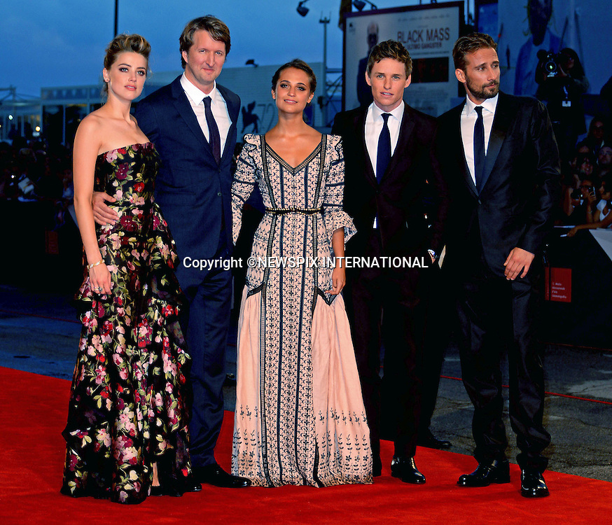 05.09.2015; Venezia, Italy: AMBER HEARD, TOM HOOPER, ALICIA VIKANDER, EDDIE REDMAYNE AND MATTHIAS SCHOENAERTS<br /> atttends the &quot;The Danish Girl&quot; premiere at the 72nd Venice International Film Festival.<br /> Mandatory Credit Photo: &copy;NEWSPIX INTERNATIONAL<br /> <br /> **ALL FEES PAYABLE TO: &quot;NEWSPIX INTERNATIONAL&quot;**<br /> <br /> PHOTO CREDIT MANDATORY!!: NEWSPIX INTERNATIONAL(Failure to credit will incur a surcharge of 100% of reproduction fees)<br /> <br /> IMMEDIATE CONFIRMATION OF USAGE REQUIRED:<br /> Newspix International, 31 Chinnery Hill, Bishop's Stortford, ENGLAND CM23 3PS<br /> Tel:+441279 324672  ; Fax: +441279656877<br /> Mobile:  0777568 1153<br /> e-mail: info@newspixinternational.co.uk