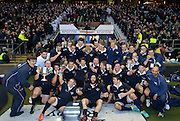 Twickenham. UK.   Oxford's, celebrate after winning the  2013 Varsity Rugby Match, defeating Cambridge 33 - 15 on    Thursday  12/12/2013, at the RFU Stadium.  Surrey, England  [Mandatory Credit. Peter Spurrier/Intersport Images]