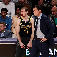 30 March 2018: Los Angeles Lakers guard Alex Caruso (4) is seen next to Los Angeles Lakers head coach Luke Walton during the Milwaukee Bucks 124-122 victory over the LA Lakers, at the Staples Center, Los Angeles, California, USA.